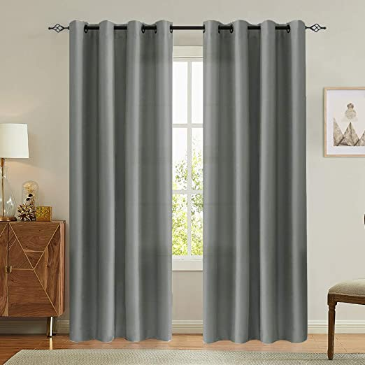 Amazon Com Vangao Grey Curtains 84 Inches Long Faux Silk Opaque Curtain Light Filtering Living Room Satin Drapes Privacy Window Treatments Set For Bedroom Grommet Top 2 Panels Home Kitchen