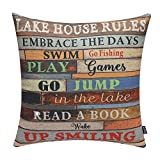 TRENDIN 18'' X 18'' Vintage Wooden Style Colorful Lake House Rules Linen Cotton Cushion Cover Pillow Case Home Decoration (PL048TR)