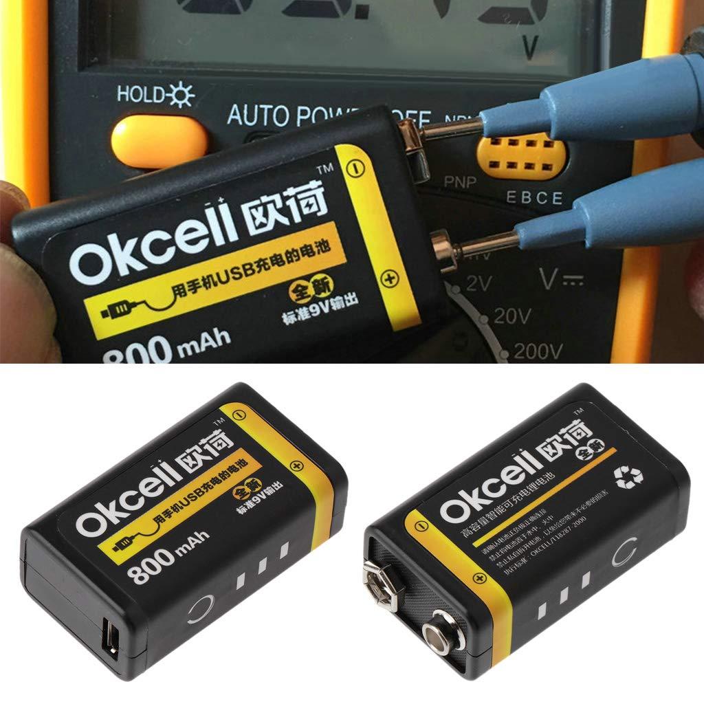 siwetg Bater/ía Recargable Lipo Micro USB De 9V 800mAh para Mult/ímetro Micr/ófono Remoto