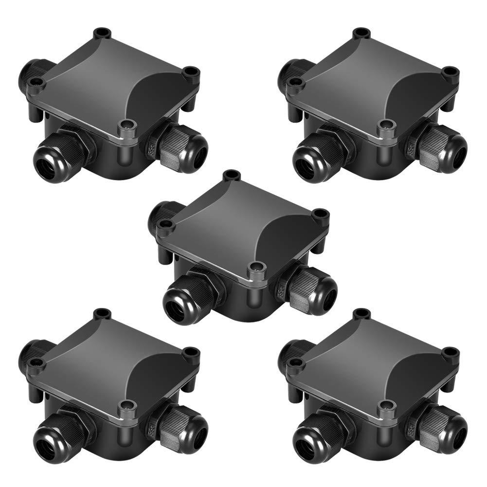Lot de 5/Bo/îte de d/érivation /étanche tofree /étanche bo/îte de distribution connecteur de c/âbles Manchon de c/âble IP68/230/V noir