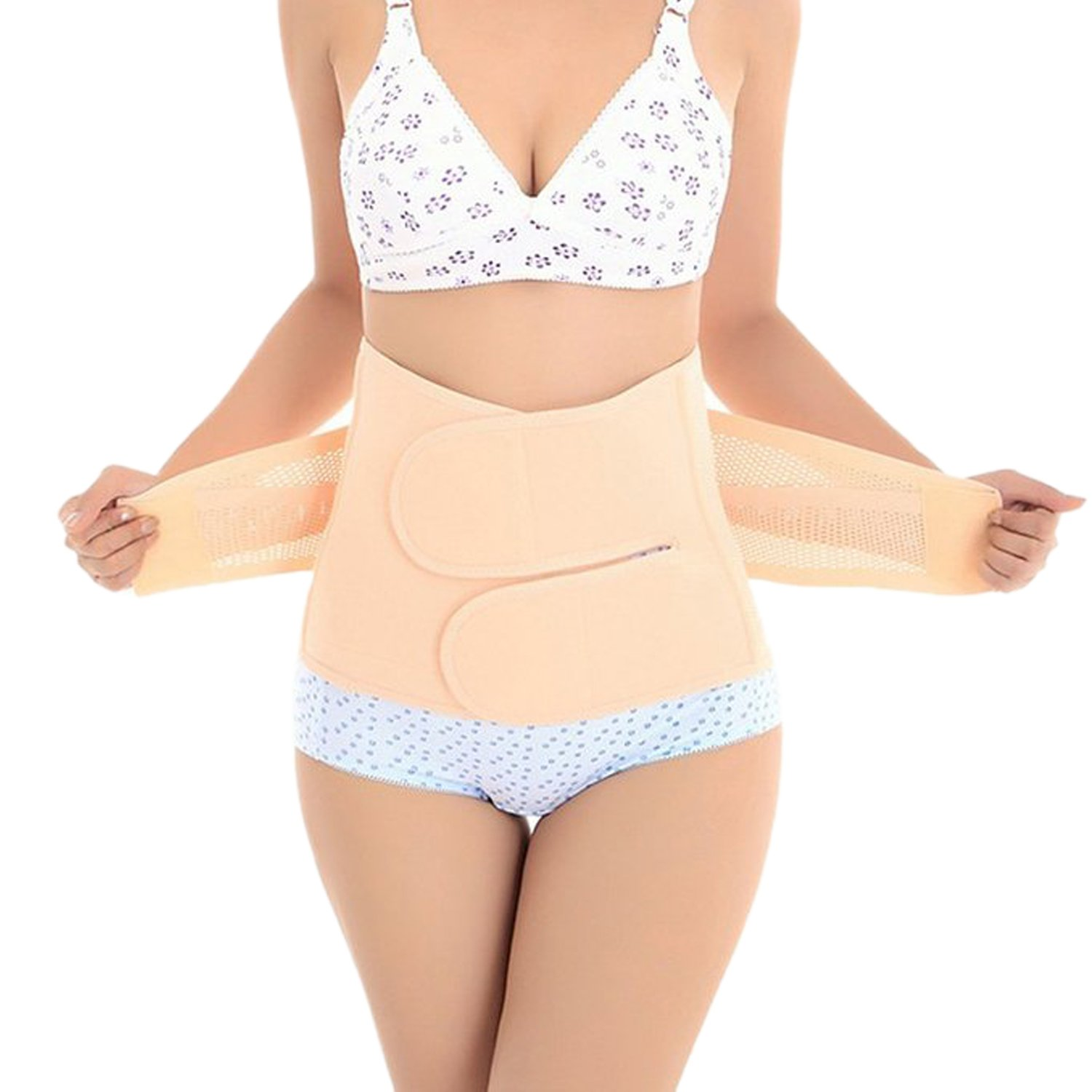Trendyline Women Postpartum Girdle Corset Recovery Belly Band Wrap Belt, Medium,Beige Nude Medium