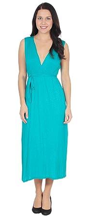 Simplictity Women's Casual V Neck Empire Waist Maxi Dress, Long ...