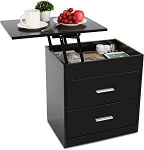 Upgrade Nightstand with Lifting Top, Bedside Desk Height Adjustable Laptop Table with 2 Drawer Storage Cabinet Removable End Table for Bedroom, Home (Black)