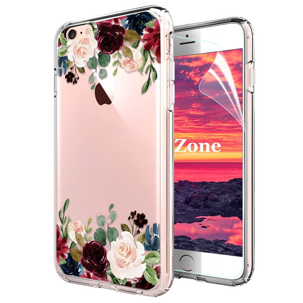 Coque iPhone 6S/iPhone 6 [avec Film de Protection é cran HD], OKZone Floral Flower Blossom Fleur Clair Design Motif Silicone Gel TPU Souple Housse Etui de Protection pour Apple iPhone 6S/iPhone 6 (Rose) OKZ-HX-FLORTPU-IX1017008