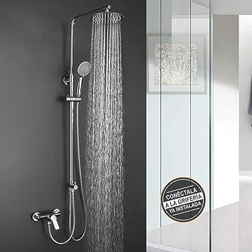 Columna de ducha SIN GRIFERÍA extralarga extensible de 100 a 150 ...
