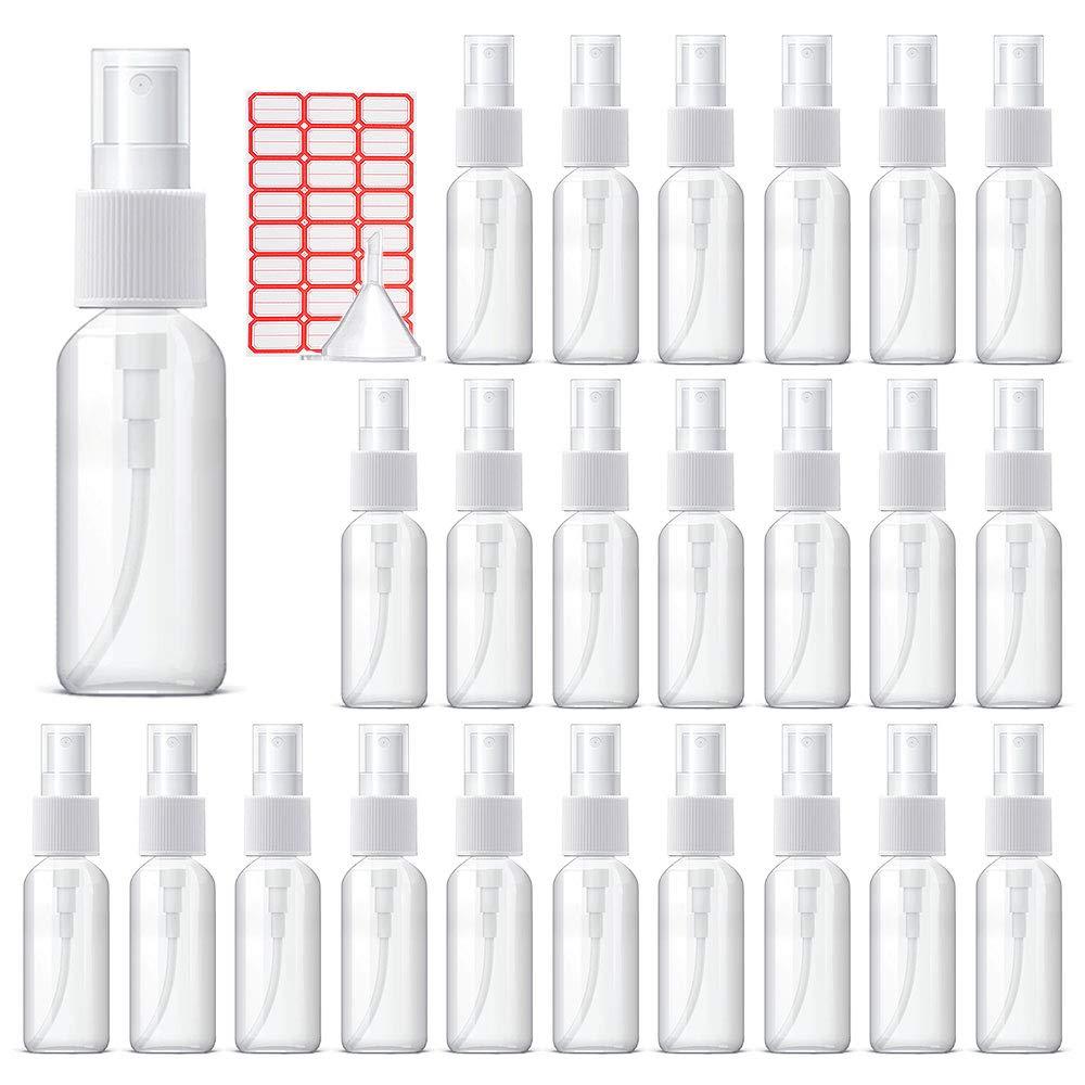 Squish 24pcs 1oz/30ml Spray Bottle, Plastic Empty Portable Refillable Makeup Clear Sprayer Bottle with Fine Mist Sprayer for Perfume, Essential Oils, Liquids, Aromatherapy, Travel Size (Transparent)