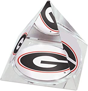 "NCAA University of Georgia Power G in a 2"" Crystal Pyramid Paperweight"