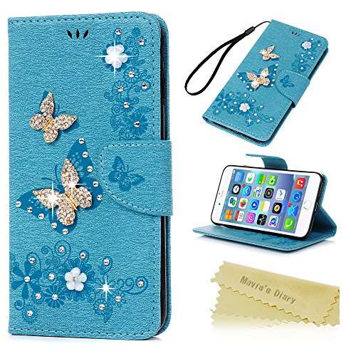 iPhone 7 Plus Case, iPhone 8 Plus Case, Wallet Case Folio Style Stand Feature Card Case Protective PU Leather Flip Cover 3D Handmade Bling Diamonds Embossed Floral Butterflies by Mavis's (Instrument Folio)