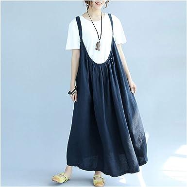 Vestido de Lino y algodón para Mujer, sin Mangas, Casual, Suelto ...