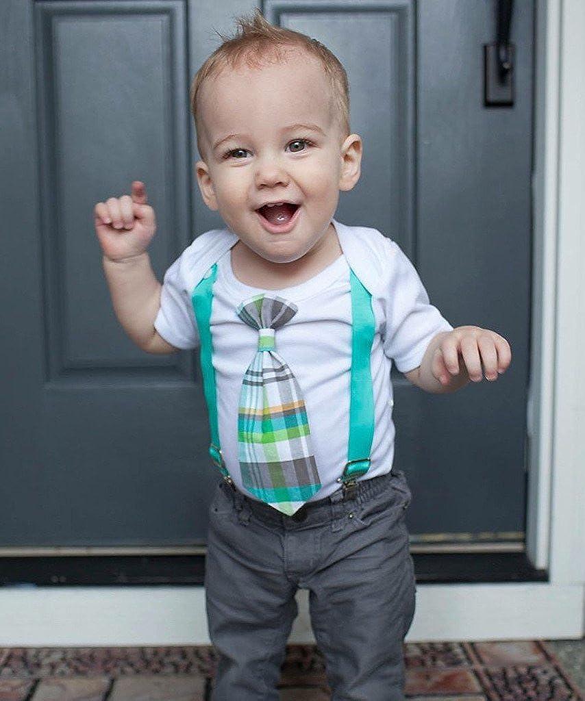964d7100b52c Amazon.com  Noah s Boytique Baby Boy Clothes with Tie Neon Yellow ...