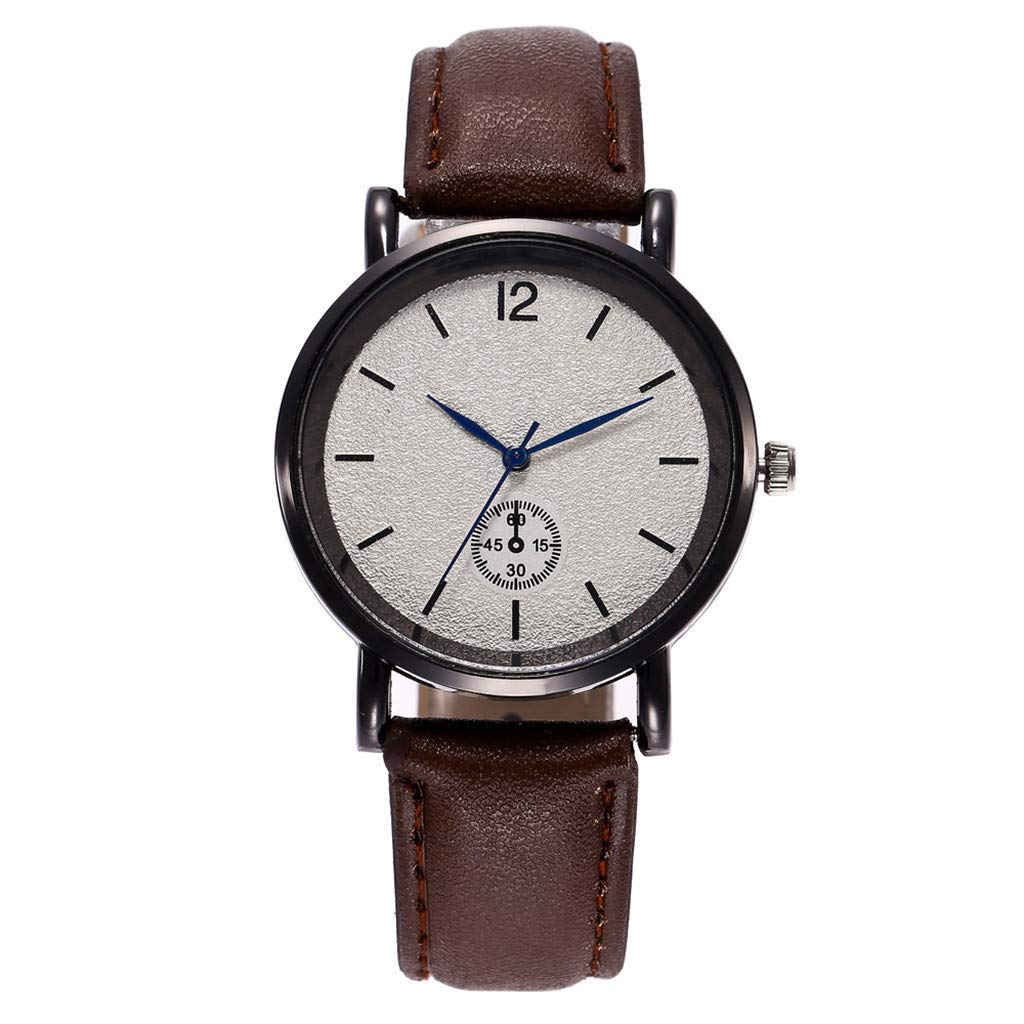 Winsummer Mens Analog Quartz Waterproof Watches Casual Leather Band Wrist Watch Simple Fashion Classic Watch for Men