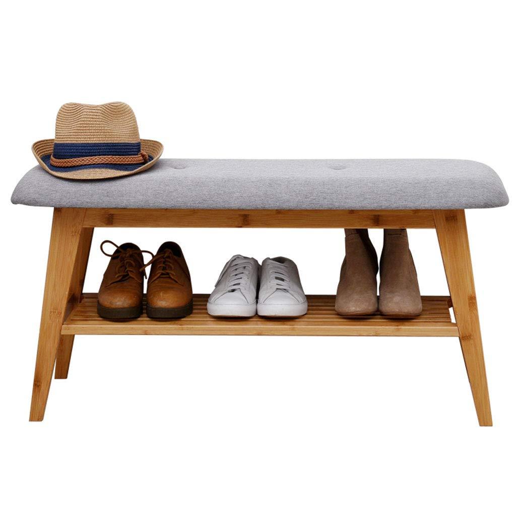 HY Cambiar Zapatos Taburete Puerta de Madera Maciza Puede Sentarse Zapato Estante Almacenamiento Almacenaje Taburete (Tamaño : L90CMXW30CMXH45CM)