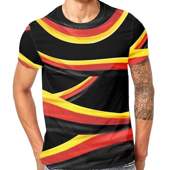 Resplend Mens Stripe 3D Printing Tees Camiseta Manga Corta Camiseta Blusa Tops