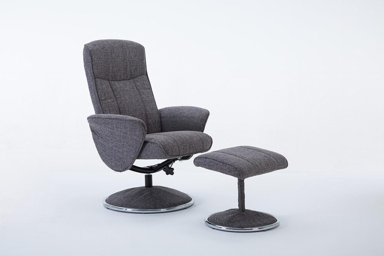 Verona Soft Lisbon Grey Fabric Swivel Recliner Chair & Matching Footstool GFA