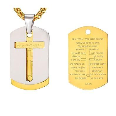bb029d3c6ca0 U7 collar de oro hombre chapado en oro 18 k placa militar collar de cruz de  oración  U7 Jewelry  Amazon.es  Joyería