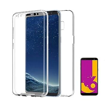 PLANETMOVIL [[ Compatible con Samsung Galaxy J6 Plus + (2018) 6 Pulgadas]] Carcasa Funda 360º de Doble Cara 100% Transparente Completa con Trasera ...