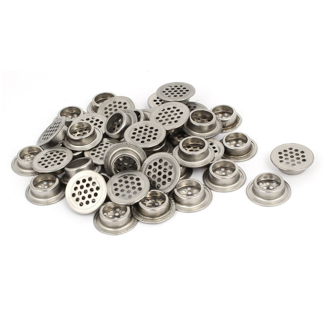 uxcell 19mm Bottom Dia Stainless Steel Round Shaped Mesh Hole Air Vent Louver 40pcs