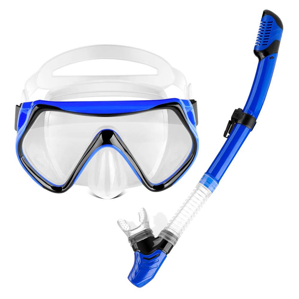 OMYAFL Snorkel Set,Snorkel Scuba Dive Mask Anti-Leak Panoramic Wide View,Dry Top Snorkel Easy Snorkeling Diving Swimming+ Carry Bag for Adult by OMYAFL