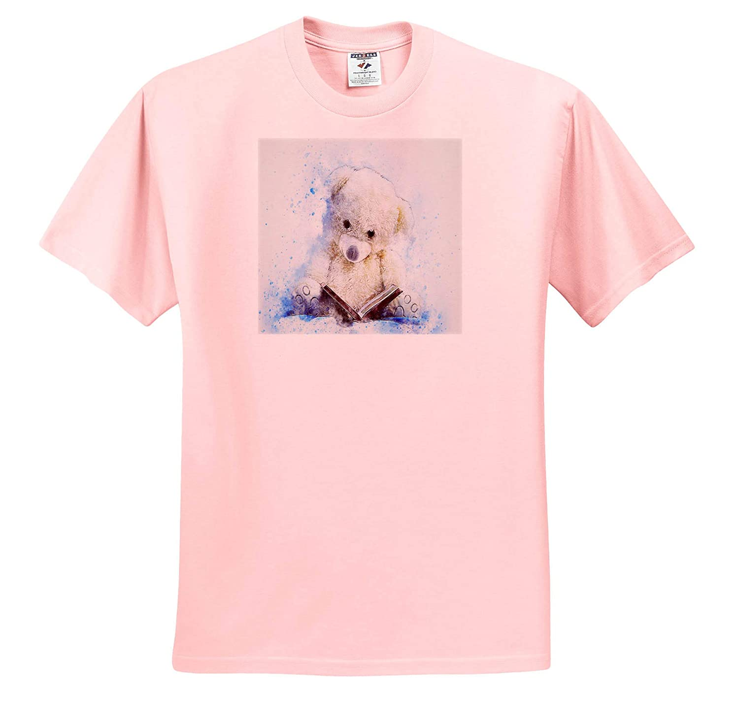 T-Shirts 3dRose Lens Art by Florene Image of Painting of Really Cute Teddy Bear Reads Book Watercolor Art
