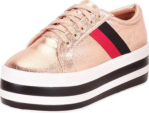 e1c5ec9504d2c Cambridge Select Women's Retro 90s Low Top Chunky Striped Platform Flatform  Fashion Sneaker