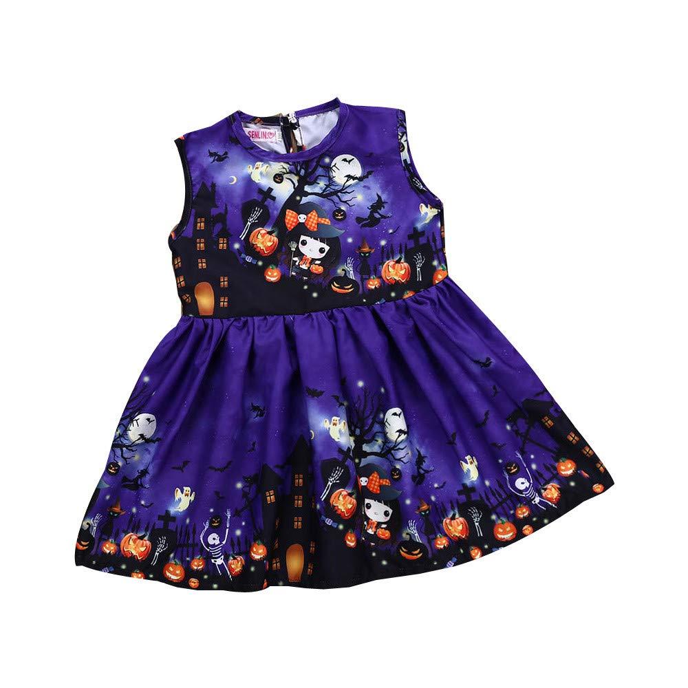 OverDose Damen Halloween Kleinkind Kinder Baby Mädchen Cartoon Sleeveless Party Clubbing Geister Horror Cosplay Prinzessin Kleid Kleidung Kleid