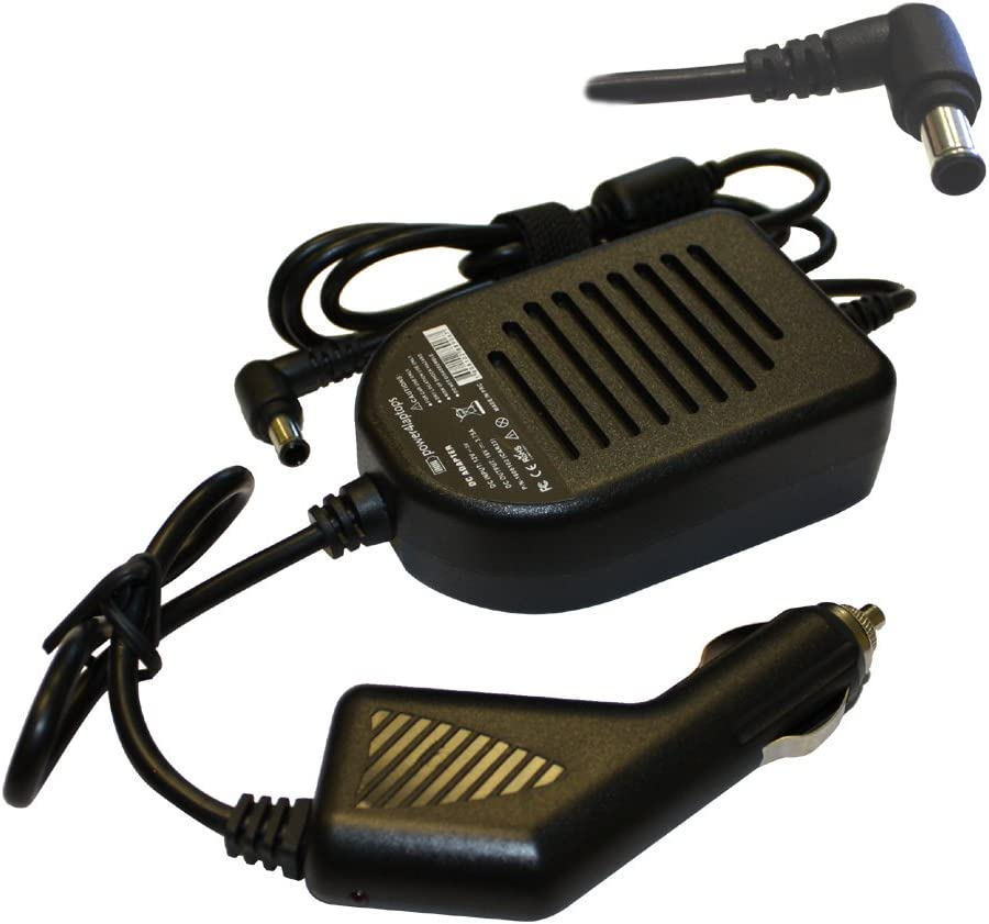 Power4Laptops DC Adapter Laptop Car Charger Compatible with Sony Vaio VGN-NR498E/S, Sony Vaio VGN-NR498E/T, Sony Vaio VGN-NR498E/W, Sony Vaio VGN-NR498EL, Sony Vaio VGN-NR498EP