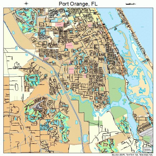 Large Street & Road Map of Port Orange, Florida FL - Printed poster size wall atlas of your home town (Street Wall Map Port)