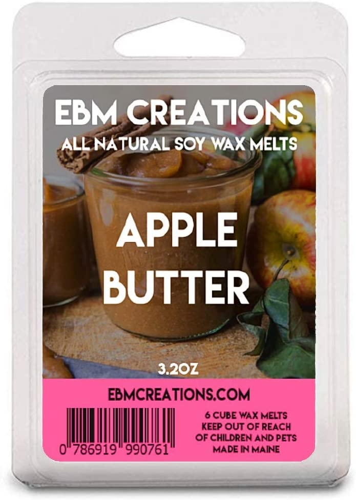 EBM Creations Scented All Natural Soy Wax Melts - 6 Pack Clamshell 3.2oz Highly Scented! (Apple Butter)