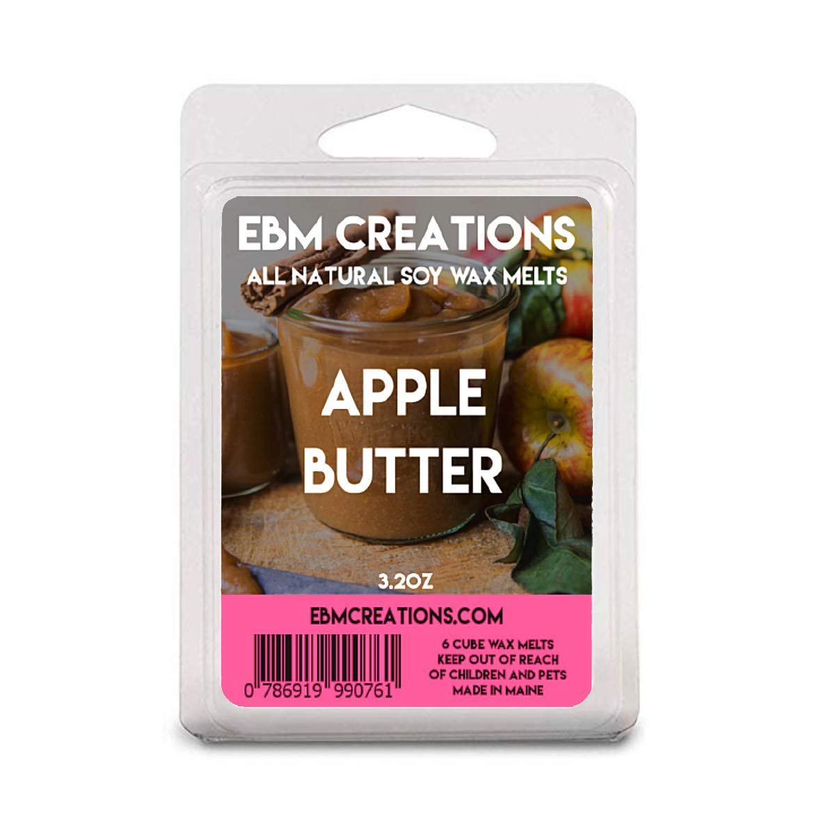 Apple Butter - Scented All Natural Soy Wax Melts - 6 Cube Clamshell 3.2oz Highly Scented!