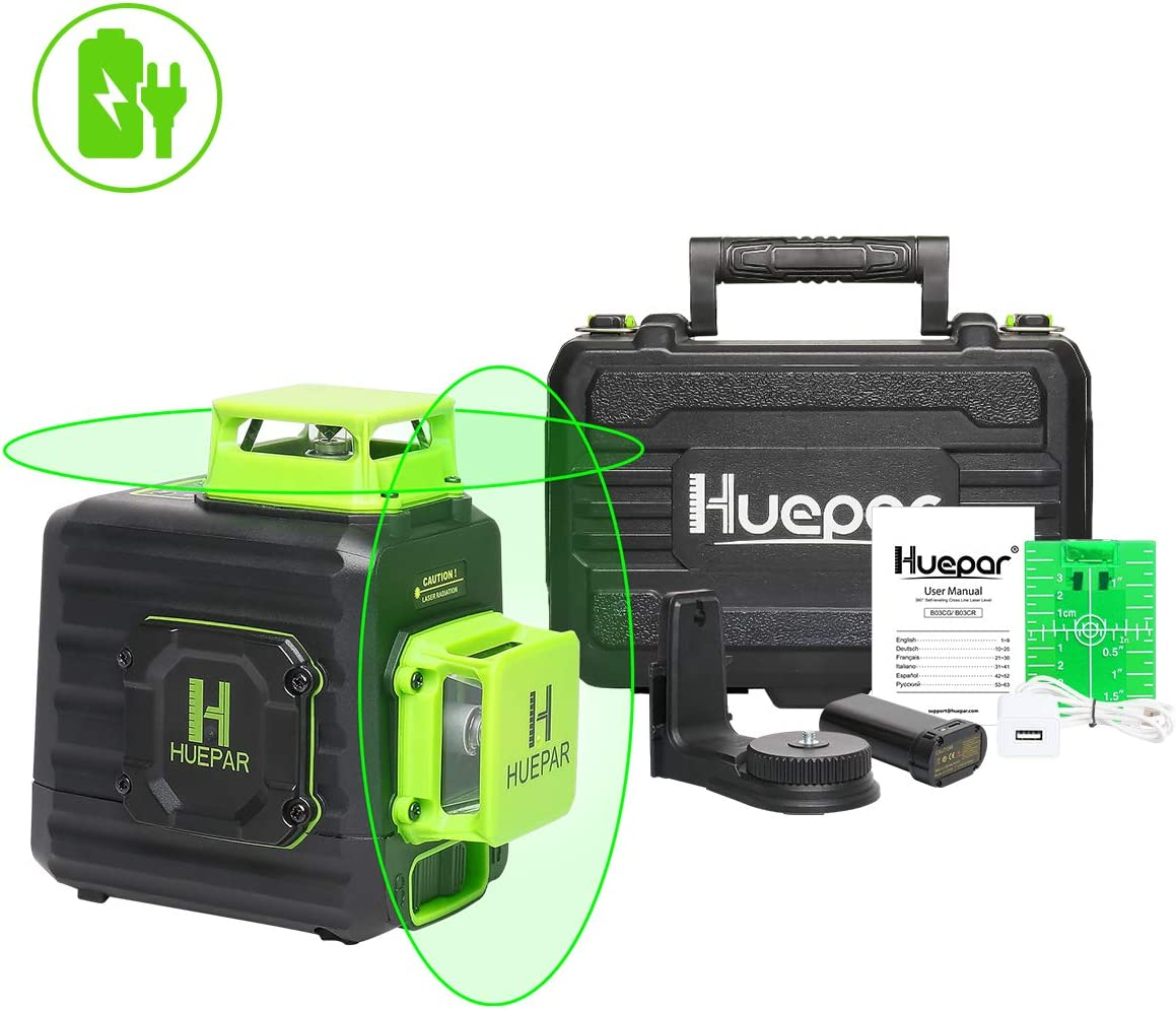 Huepar 2 x 360 Cross Line Self-leveling Laser Level, 360 Green Beam Dual Plane Leveling and Alignment Laser Tool, Li-ion Battery with Type-C Charging Port Hard Carry Case Included – B02CG