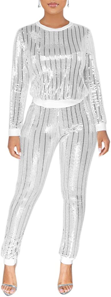 ksotutm Womens 2 Piece Outfits Sexy Sequin Shiny Pullover Top + Bodycon Pants Jumpsuit Clubwear Set