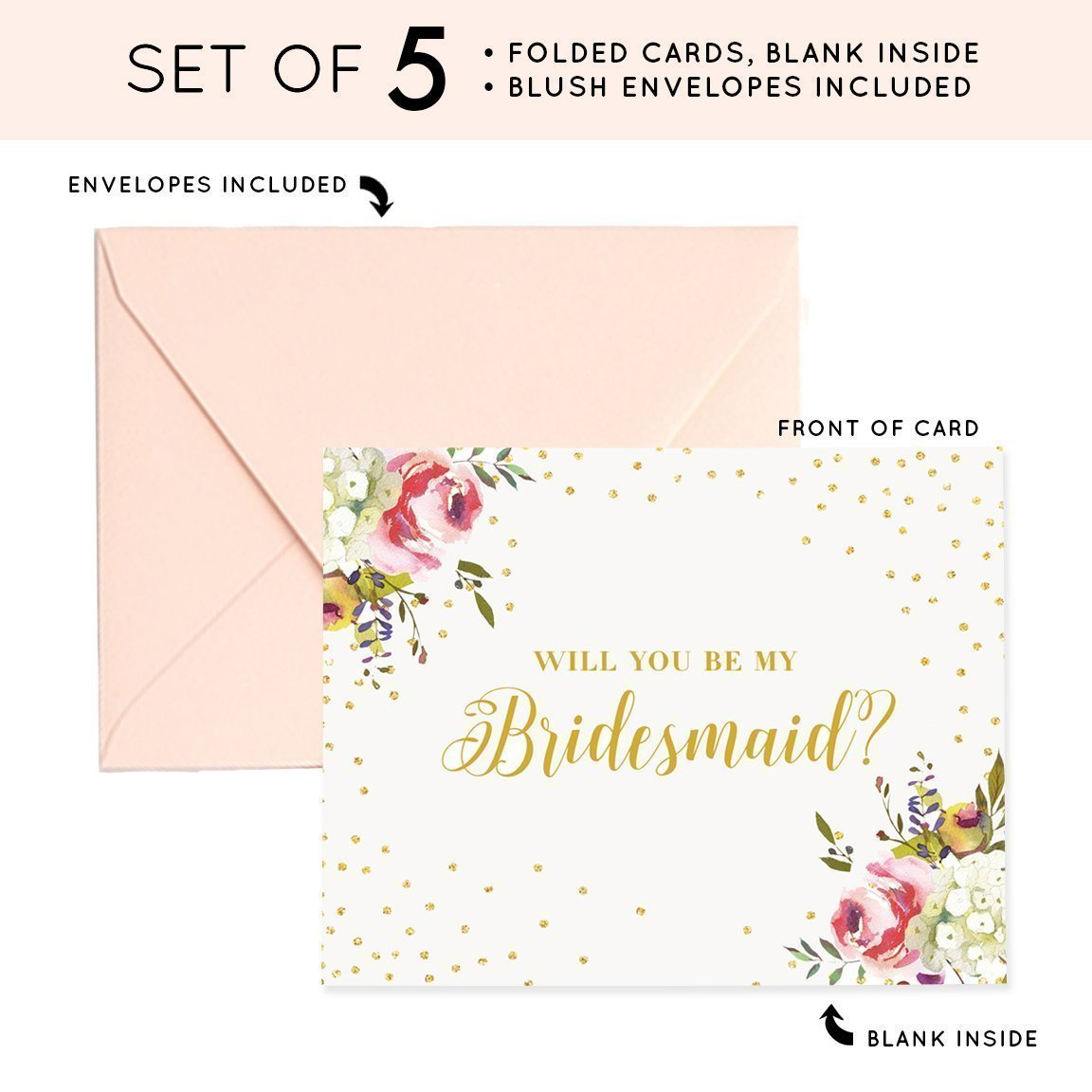 Will You Be My Bridesmaid Proposal Cards (Set of 5) Brides Maid Box Pack Five Cards with Luxe Blush Pink Envelopes Wedding Party Engagement Best Friend Sister CW0001-1