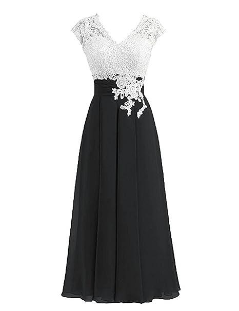 Amazon.com: Vestido de dama de honor con cuello en V y ...