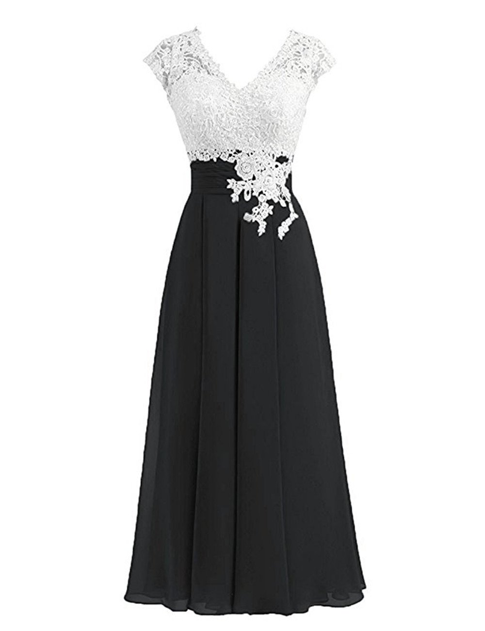 bec2ec83aea01e Women's Ivory Lace Top Chiffon Button V-Neck Bridesmaid Dresses with Cap  Sleeves Mother of The Bride Dresses (US16, Black)