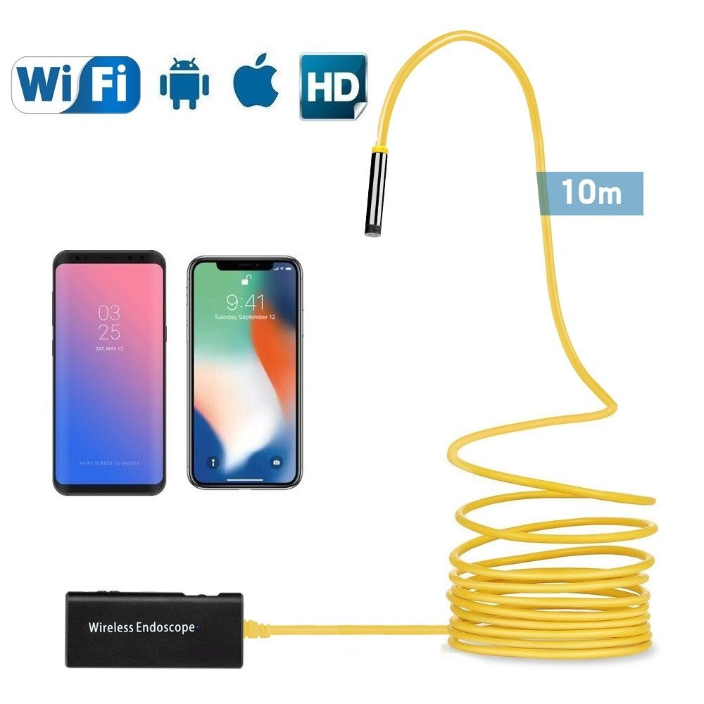 Wireless Endoscope,33FT Semi-rigid Borescope Inspection Camera 2.0 Megapixels HD IP68 Waterproof Endoscope Camera for Android and IOS Smartphone, iPhone, Samsung, Tablet