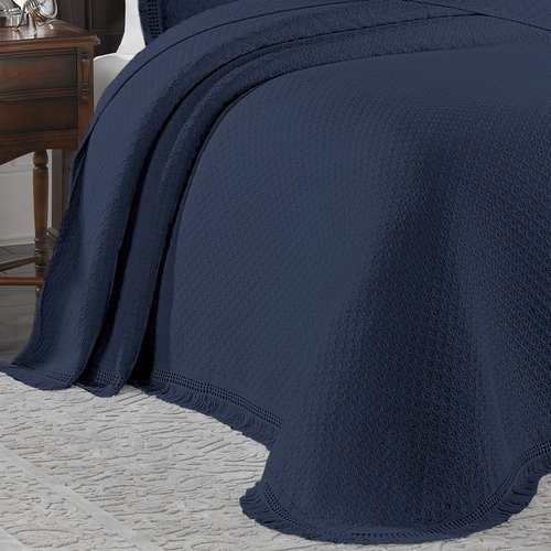 LaMont Limited All Over Brocade Bedspread, King, Blue