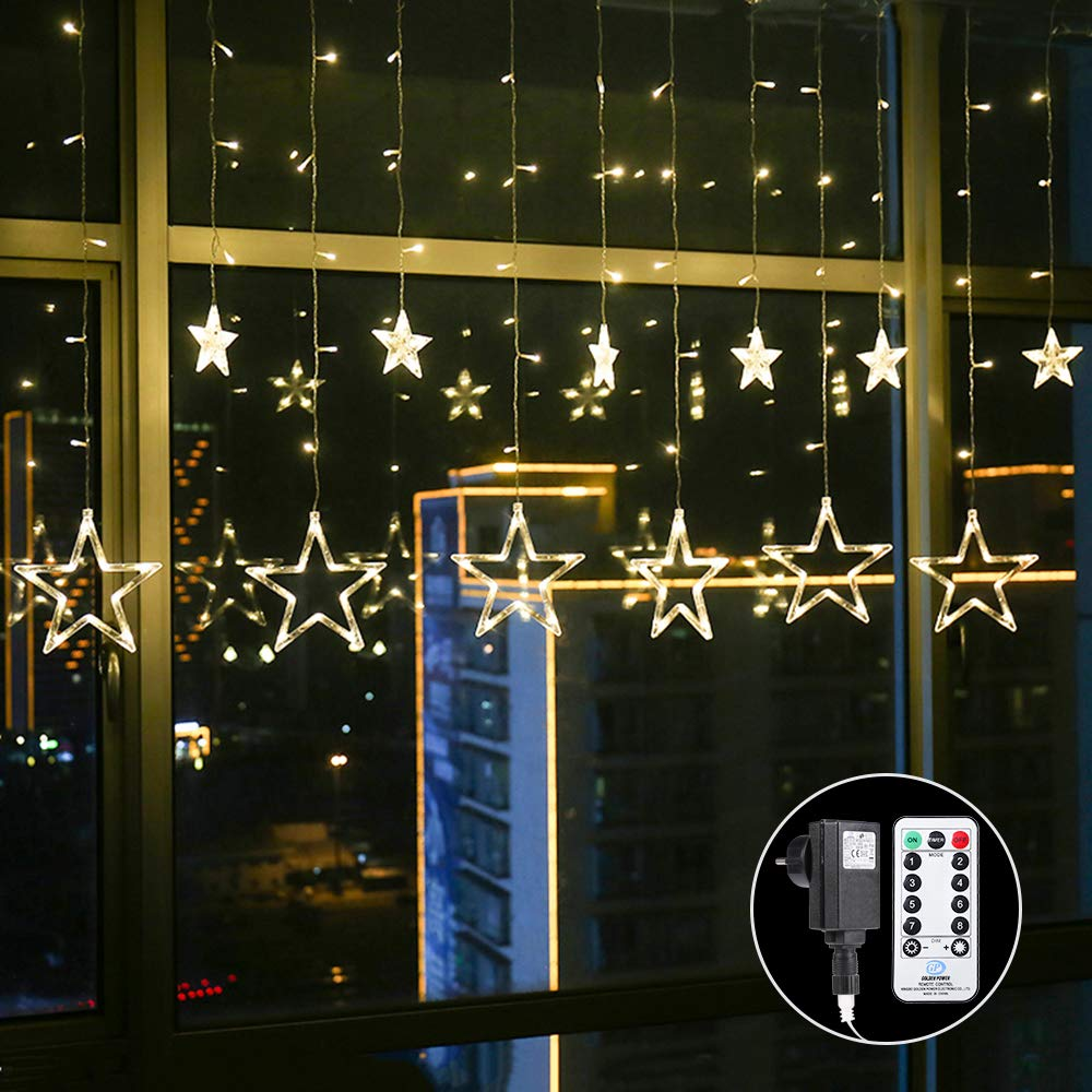 ALOVECO Star Curtain Lights with Remote, 12 Stars 138 LEDs Window Curtain String Lights Waterproof with 8 Flashing Modes Decoration for Christmas, Wedding, Party, Home, Patio Lawn, Warm White
