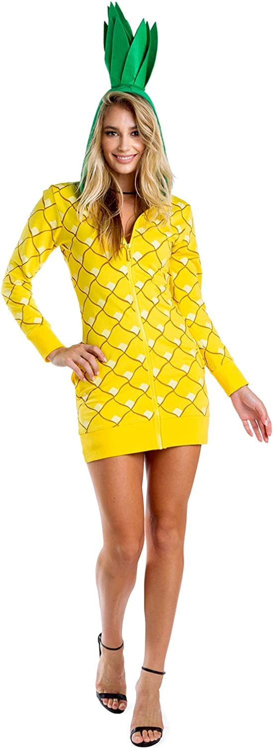 Tipsy Elves Women's Pineapple Costume Dress w/Pockets for Halloween - Pineapple Onesie for Women