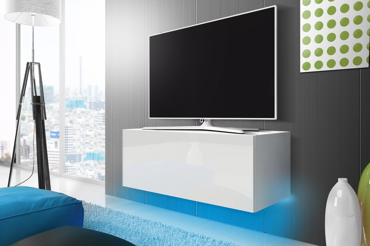 Selsey Lana Meuble Tv Suspendu Table Basse Tv Banc Tv De  # Meuble Tv Blanc Laque A Suspendre