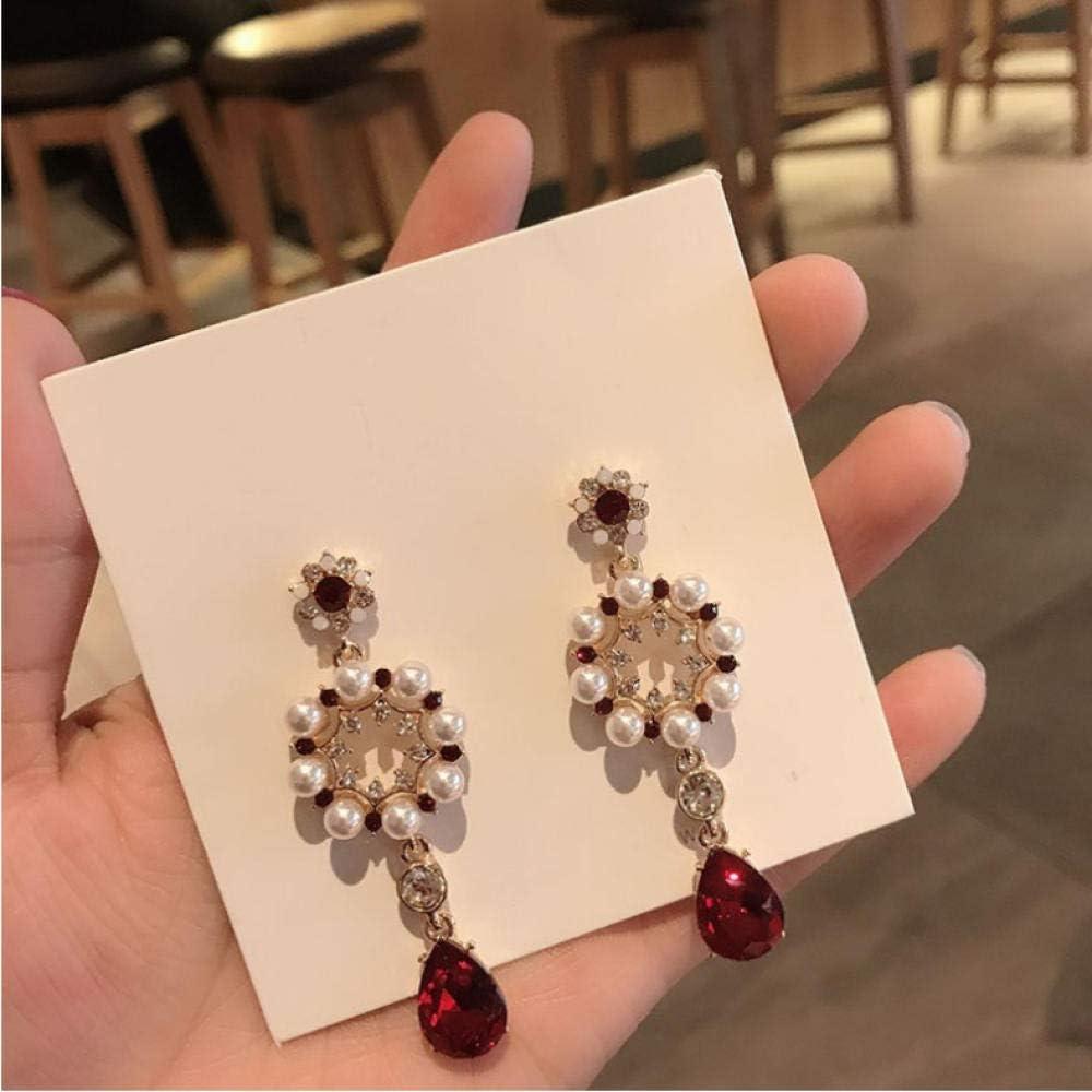 Empty Flores de Perlas geométricas Pendientes de Gota de Moda de corazón Pendientes de Gota de Agua de Cristal Fino Pendientes de Mujer