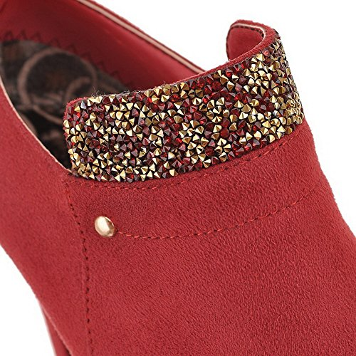 shoes Goma heels High Pumps Señoras Casual Rojo Cremallera 1to9 tx0AXpw