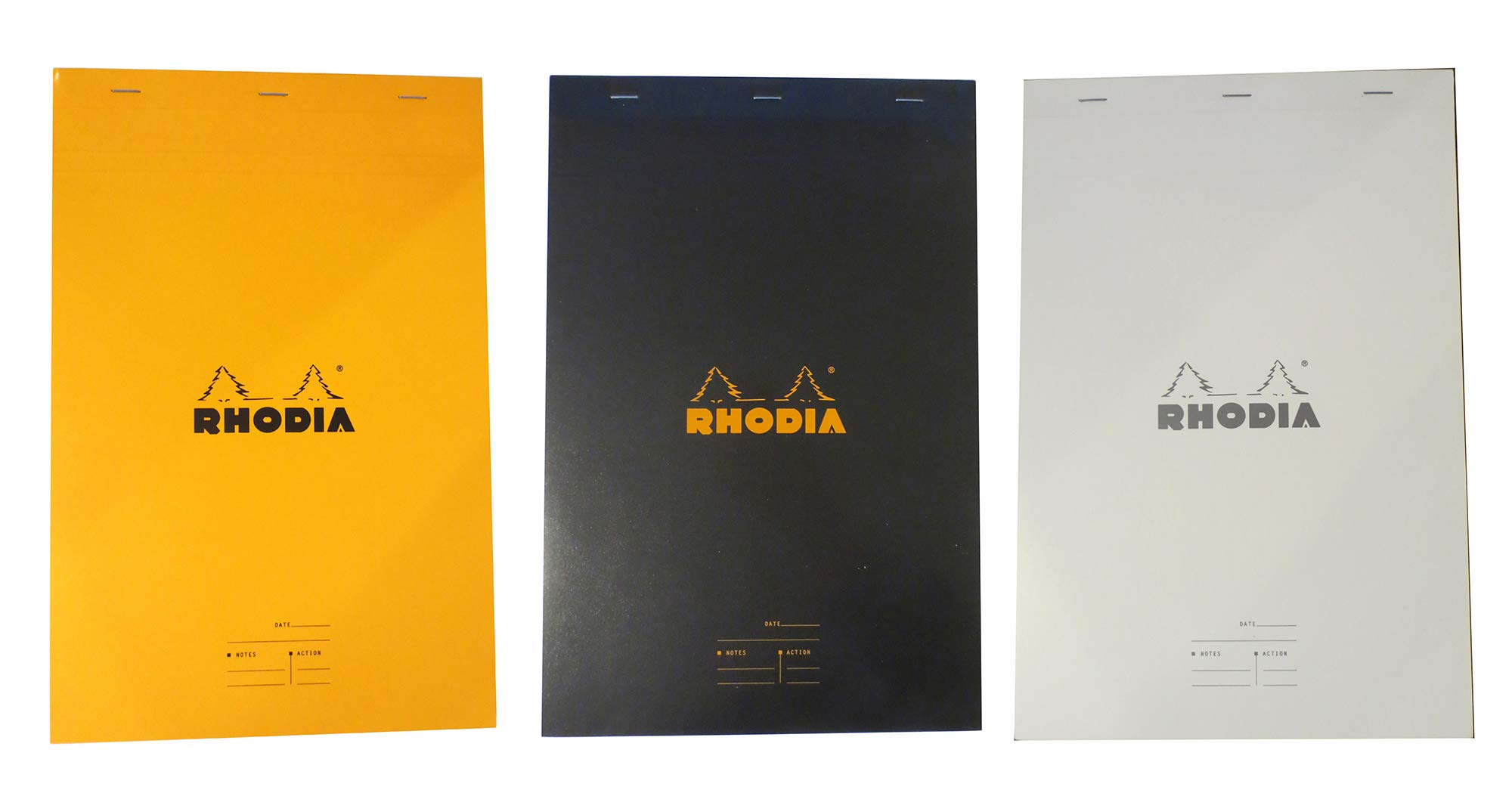 Rhodia Meeting Pad 8 x 12 in, Pack of 3, Black White and Orange by Rhodia