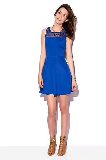 Q2 Mujer Vestido azul electrico con escote de rejilla - XS - Azul