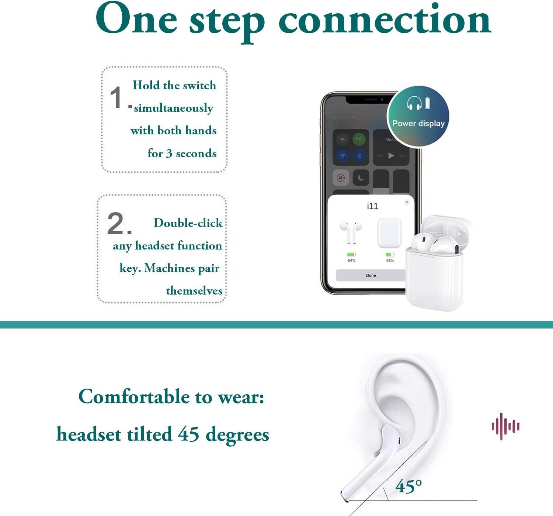 Bluetooth Kopfh/örer Wireless Headsets 5.0 Kopfh/örer Bluetooth In-Ear Kopfh/örer Wireless Stereo 3D Surround Sound Freisprecheinrichtung f/ür Apple Airpods Android//iPhone//Samsung//Huawei