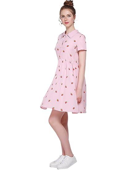 b3b270450305 HaoDuoYi Women s Strawberry Print Button Down A Line Shirt Dress at Amazon  Women s Clothing store