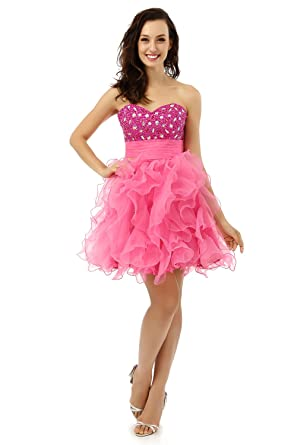 9709c0ce49 Butalways Short Prom Dress Hot Pink