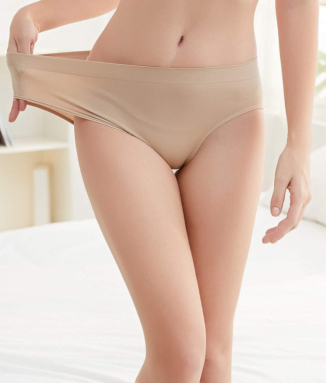 SAYCELI Womens Underwear Seamless Hipster Panties,6 Pack Women Soft Stretch No Show Brief Bikini for Ladies
