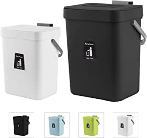 KaryHome Kitchen Compost Bin for Countertop or Under Sink Composting, Indoor Home Hanging Trash Can with Removable Airtight Lid,2 Pack, Black and White