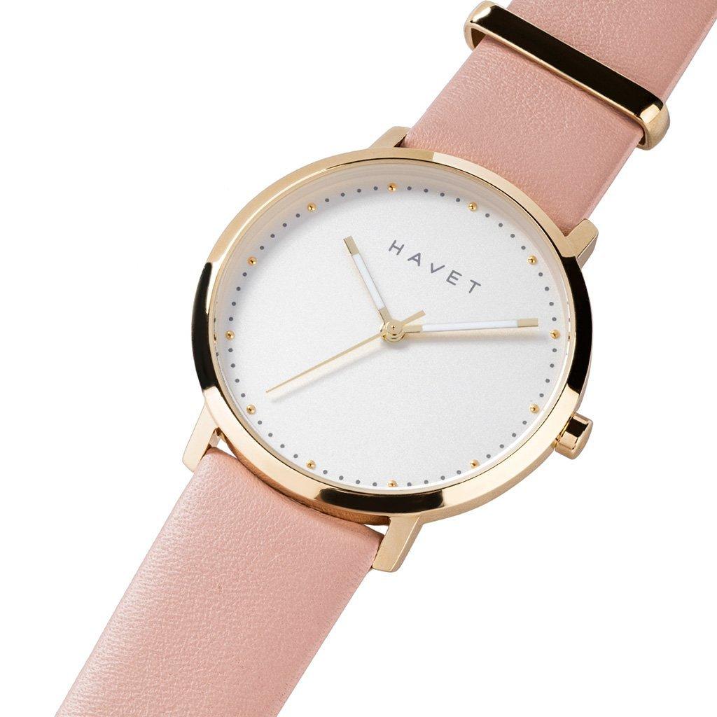 HAVET | Reloj de mujer Dyna de acero esfera blanca y piel color rosa: Amazon.es: Relojes