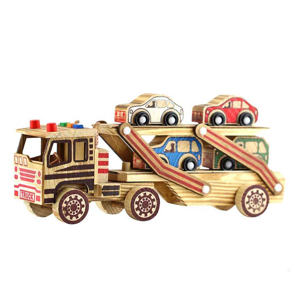YeahiBaby Hölzerne Transportwagen Trägheitstechnik Fahrzeugmodell Spielzeug für Kinder Kinder 1 Set